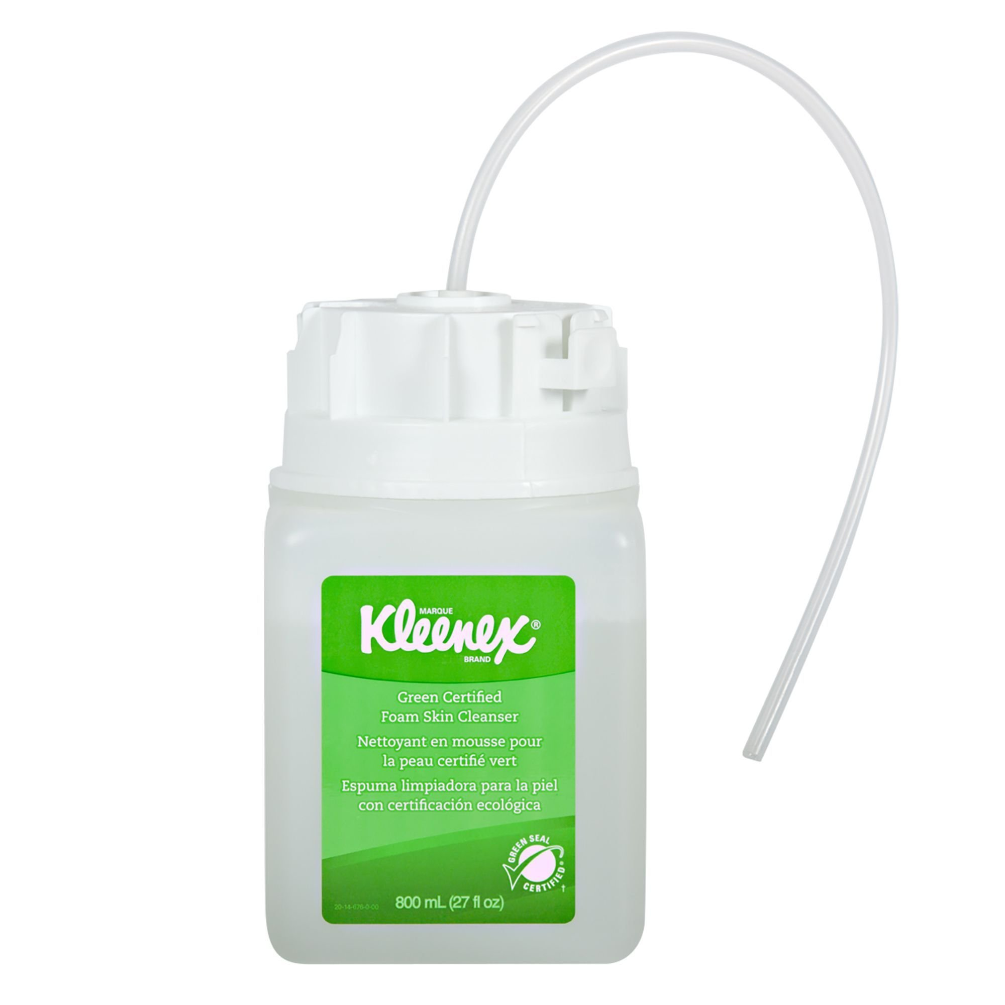 Kleenex 35042 Green Certified  Foaming Hand Soap (35042), Unscented, Clear, 800 mL Under-Counter Bottles, 4 Units / Case