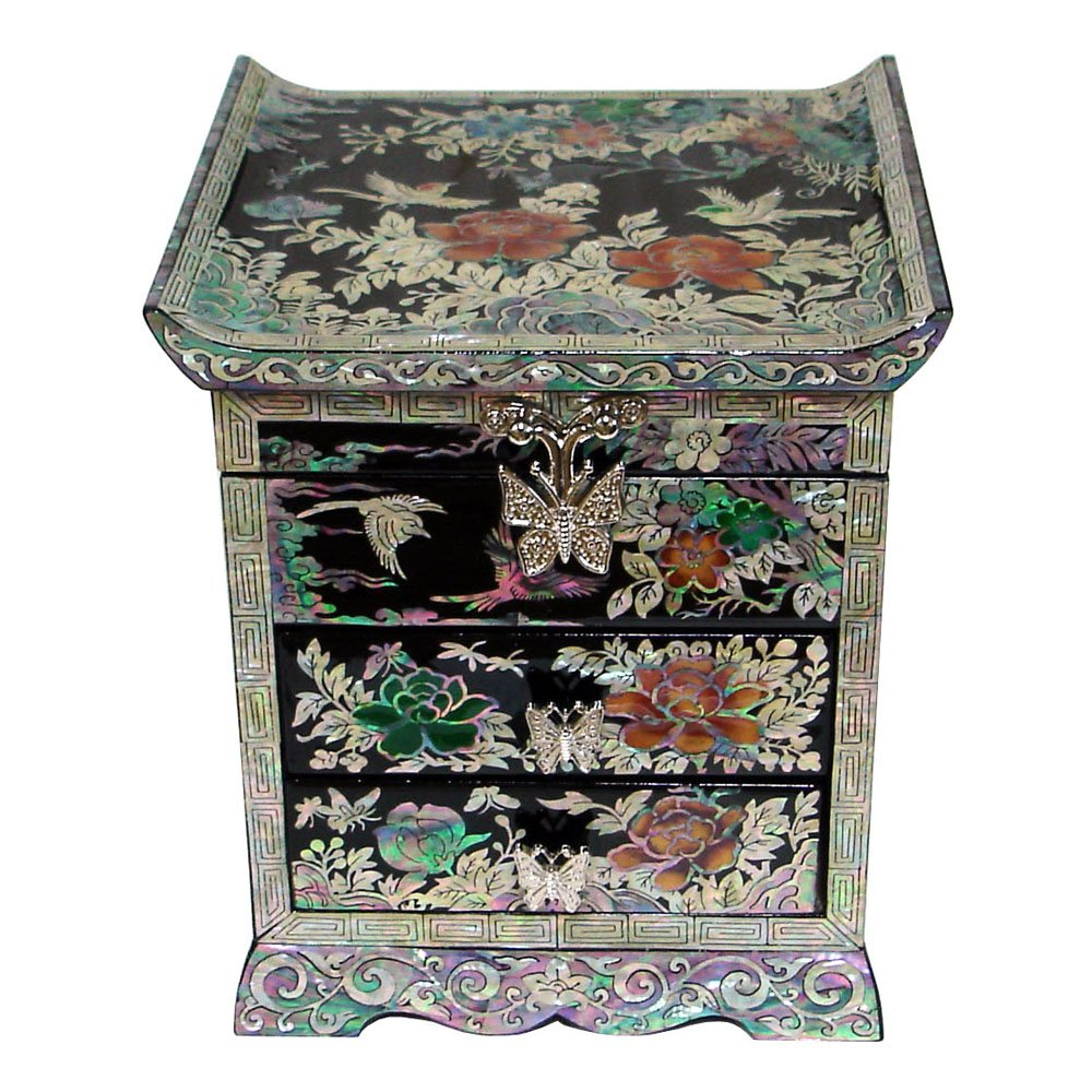 Mother of Pearl Peony Flower Bird Black Lacquer Wood Drawer Jewelry Trinket Keepsake Treasure Chest Box