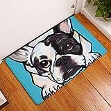 "YJBear Thin Cartoon White Puppy Dog Print Rectangle Doormat Kitchen Floor Runner Floor Mat Entry Mat Home Decor Carpet Indoor Blue 16"" X 24"""