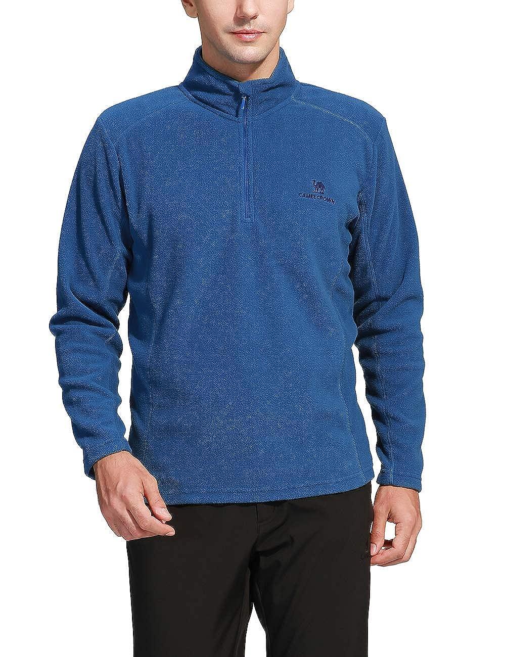 Camel Crown Half Zip Fleece Jacket Men Long Sleeve Pullover Lightweight Outdoor Sweatshirt Z8W203121-CLUS
