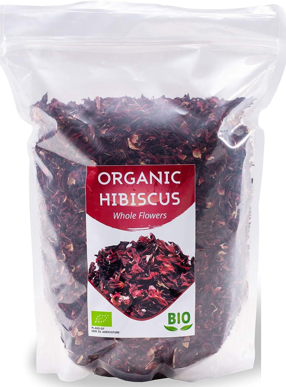 Flores de hibisco orgánicas HerbaNordPol | Egipcias | Hibiscus Premium | 1 Kg BIO | Pétalos sueltos grandes para té