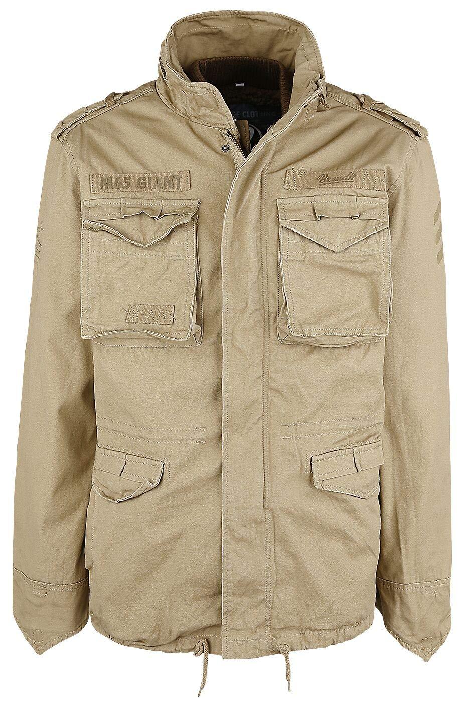 Surplus Paratrooper Winter Jacket Mens M65 Military Army Warm Coat Beige Washed