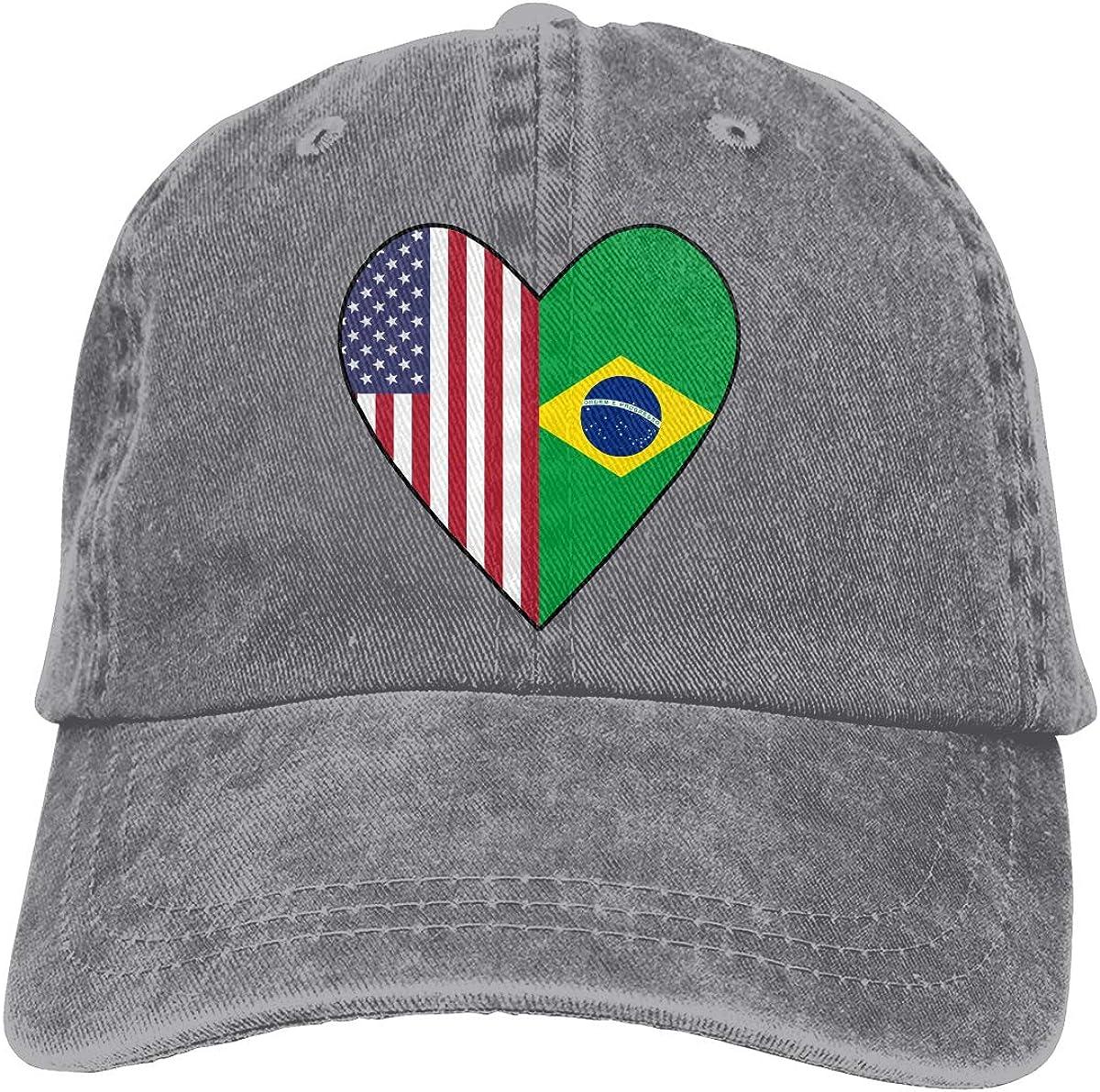 Half Brazil Flag Half USA Flag Love Heart Unisex Custom Cowboy Sun Hat Adjustable Baseball Cap