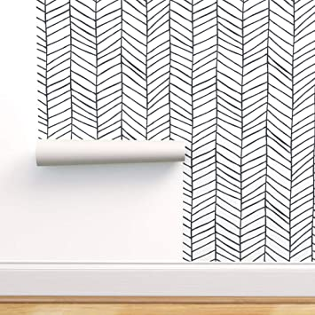 Spoonflower Pre Pasted Removable Wallpaper Herringbone Black And White Feather Chevron Nursery Geometric Large Scale Print Water Activated Wallpaper 12in X 24in Test Swatch Amazon Com