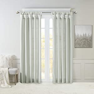 Madison Park Emilia Faux Silk Curtain with Privacy Lining, DIY Twist Tab Top, Window Drapes for Living Room, Bedroom and Dorm, 50x84, Dusty Aqua