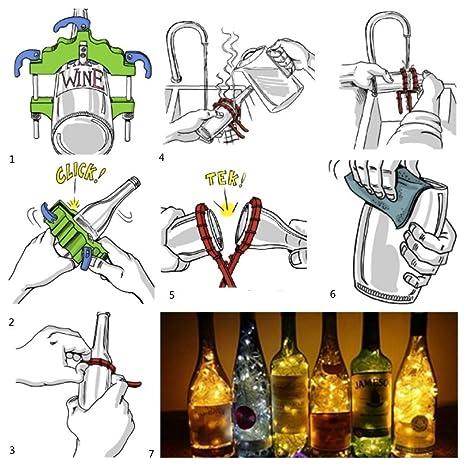 Cortador de Botellas Duradera de cristal de la máquina de corte de la botella de cerveza del vino fácil de crear arte funcional, ideal para hacer regalos: ...