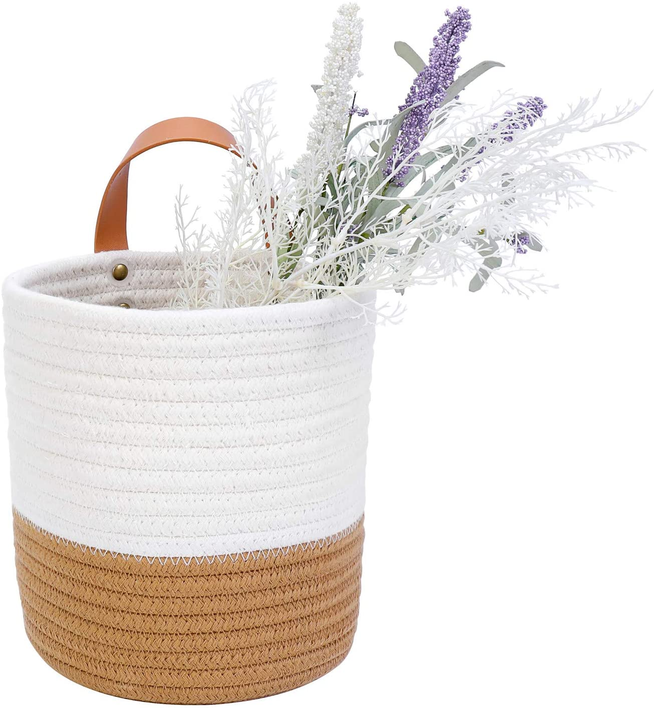 Rope Woven Baskets for Baby Nursery Kids Gift Wall Hanging Organizer Storage Baskets 2pack Jute Woven Hanging Baskets for Organizing Small Woven Baskets for Storage Hanging Basket Flower Plants