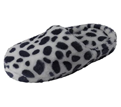 606c730e4893 Slenderella Ladies Animal Print Slippers Super Soft Fleece Womens Slip On  Mules M-L (Navy Blue