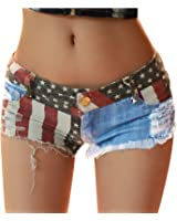 Fashion Story Hot Pants Mini Jeans Shorts Women American US Flag Denim
