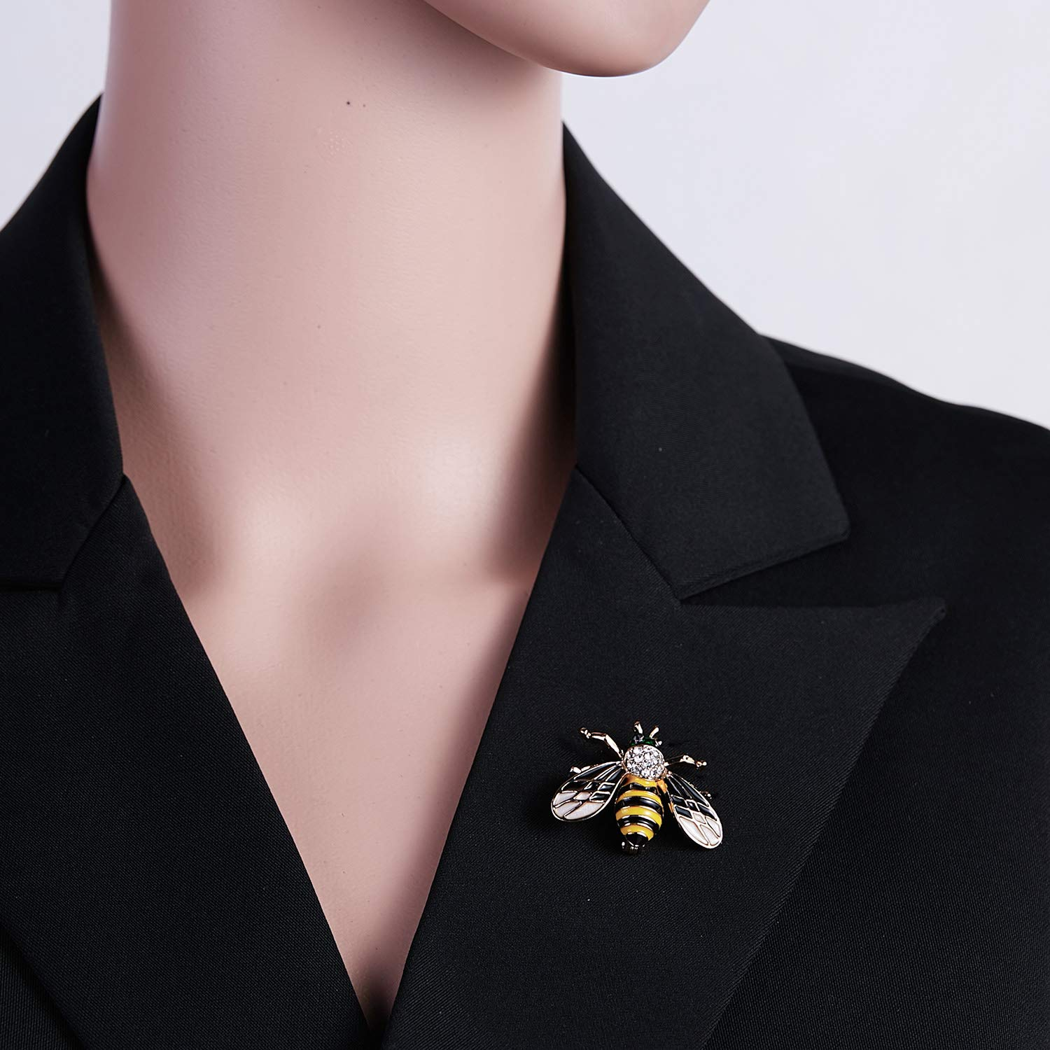 3Pcs Cute Honeybee Enamel Brooches Pin Antique Crystal Rhinestones Bee Scarf Clips for Women Girls (Style5) by beemean (Image #4)