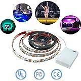 Simfonio Tiras Led 1m 30 Leds IP65 Impermeable 5050 SMD RGB Tira LED Kit Completo con Mini Control y caja de batería para Para TV, HDTV, Pantalla LCD, Portátil, Sobremesa, Dormitorio
