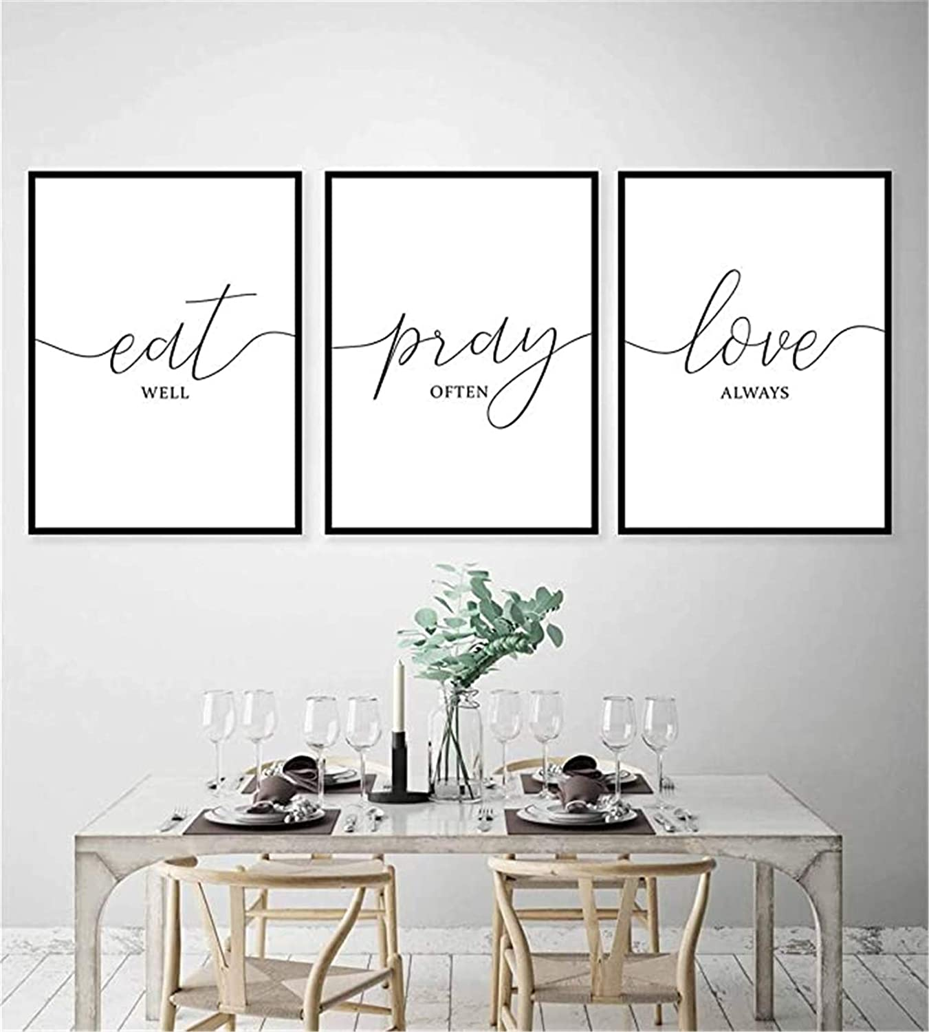 DOLUDO Wall Art Canvas 3 Pieces Eat Well Pray Offen Love Always Poster Art Prints Painting Picture for Living Room Bedroom Decor Gift Artwork No Frame 40X60cmx3