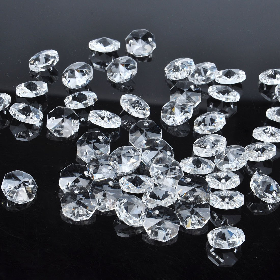 Amazon.com : H&D 50pcs 18mm Clear Crystal 2 Hole Octagon Beads ...