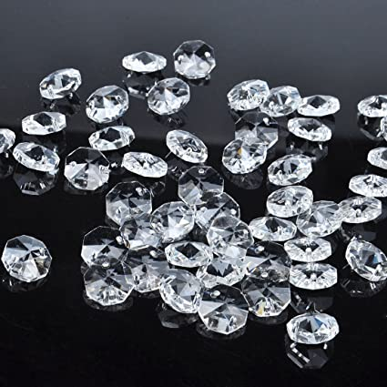 Amazoncom HD Pcs Mm Clear Crystal Hole Octagon Beads Glass - Octagon chandelier crystals