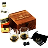 Black Granite Whiskey Stones Gift Set of 8 with Fancy, Beautiful Polished Whiskey Rocks. 2 Deluxe Crystal Whiskey Glasses, Felt Carry Bag, Handmade Quality Wooden Gift Box. Keeps Drinks Cold & Pure