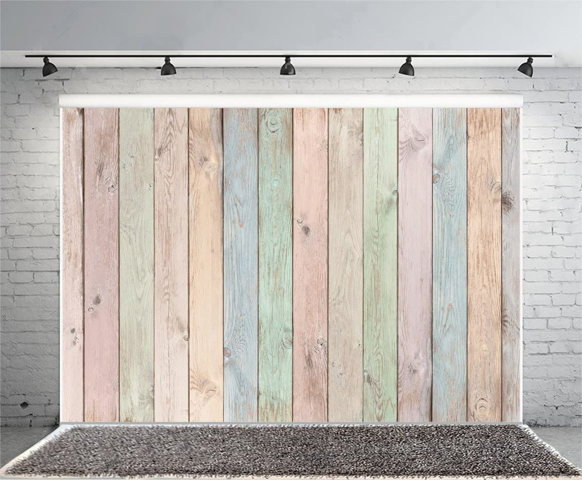FEASRT Vintage Wood Backdrop for Photography Colorful Stripe Background 10x7ft Photo Booth Studio Props LYAY1158
