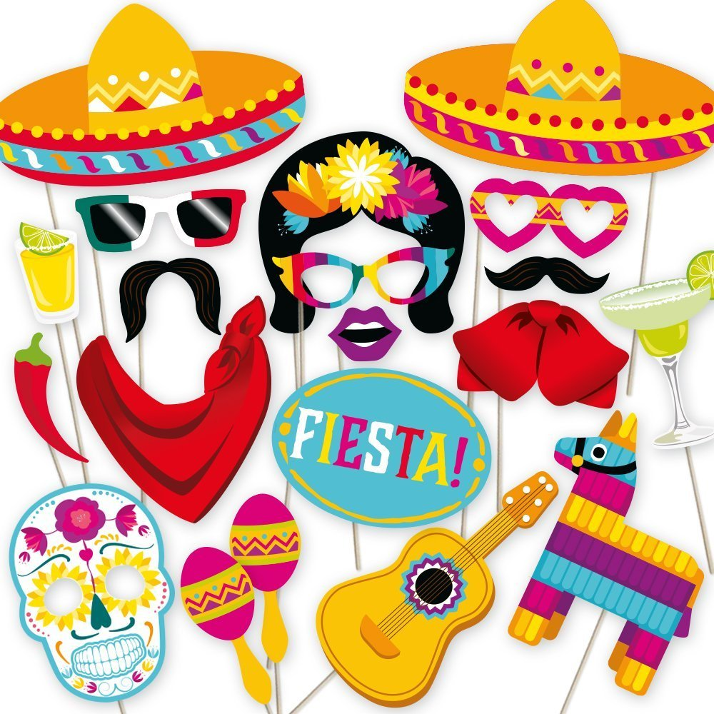 Fiesta Photo Booth Props by PartyGraphix. Perfect for Mexican Photo Booth Props Stand. Fiesta party supplies. Kit includes 32 Pieces. by PartyGraphix