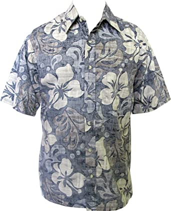 dd23cdb5d Go Barefoot Mens Texture Hibiscus Placket Reverse Shirt at Amazon ...
