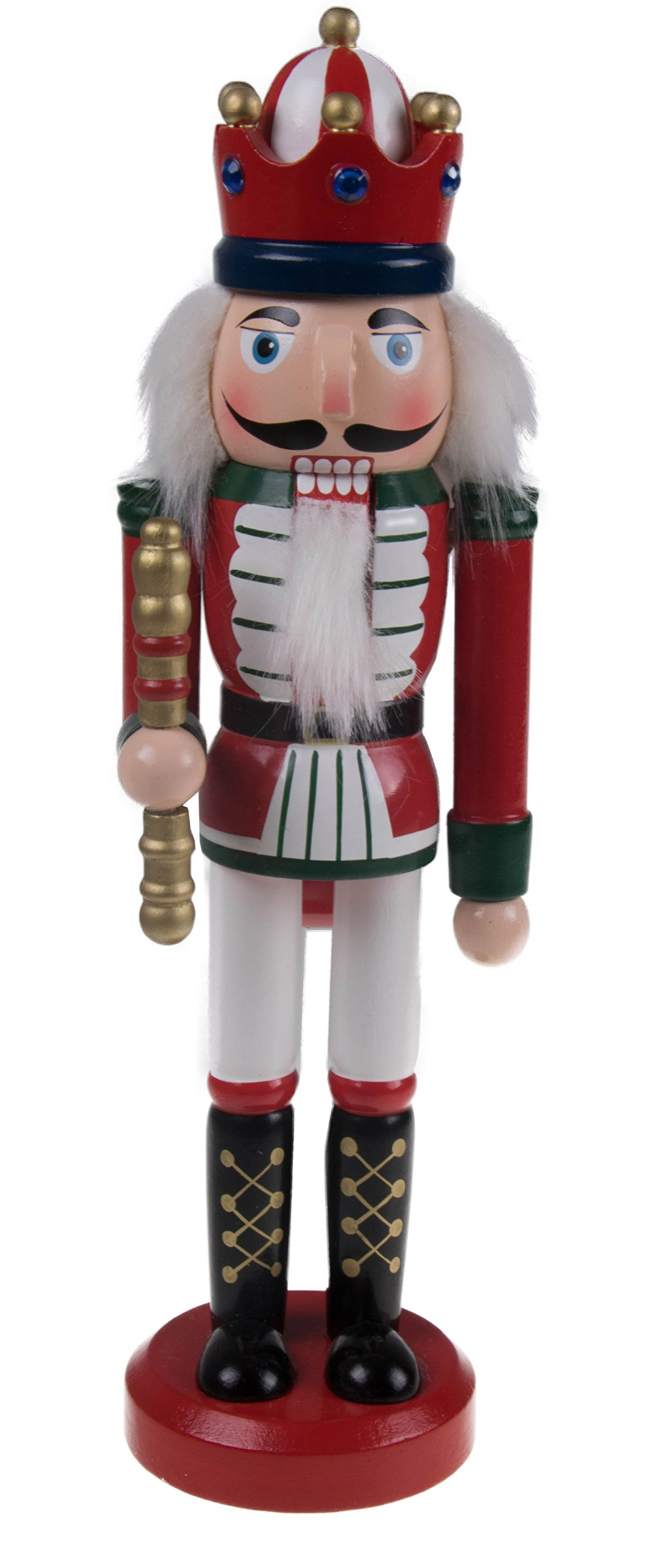 "Classic Red King Nutcracker by Clever Creations | Traditional Uniform | Holding Scepter | Highly Collectible Nutcracker | Festive Christmas Decor | Perfect for Any Decor Theme | 100% Wood | 10"" Tall"