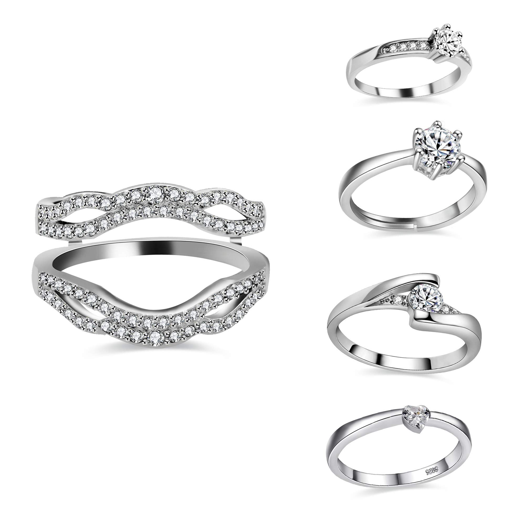 Uloveido 5 PCS Rings for One Bridal Set - 18K White Gold Plated Ring Enhancer Guard Sent with Heart Round Cubic Zirconia Rings Set for Women (Size 7) Y450