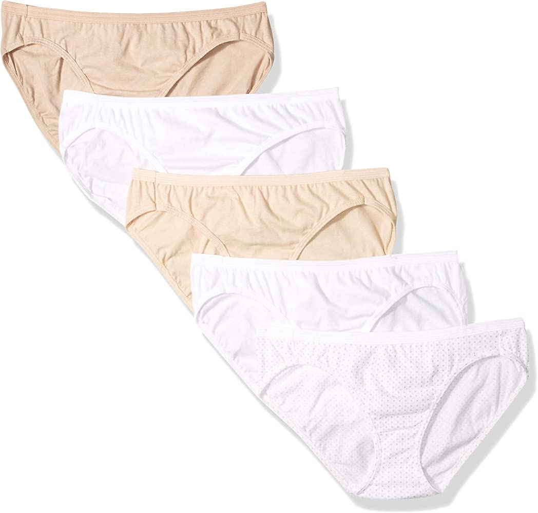 Hanes Ultimate Women's Comfort Cotton Bikini Panties 5-Pack, Whites/Body Tones Assorted, 7