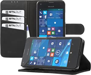 StilGut Talis, Housse Porte-Cartes avec Fonction Support pour Microsoft Lumia 550, en Noir Vintage