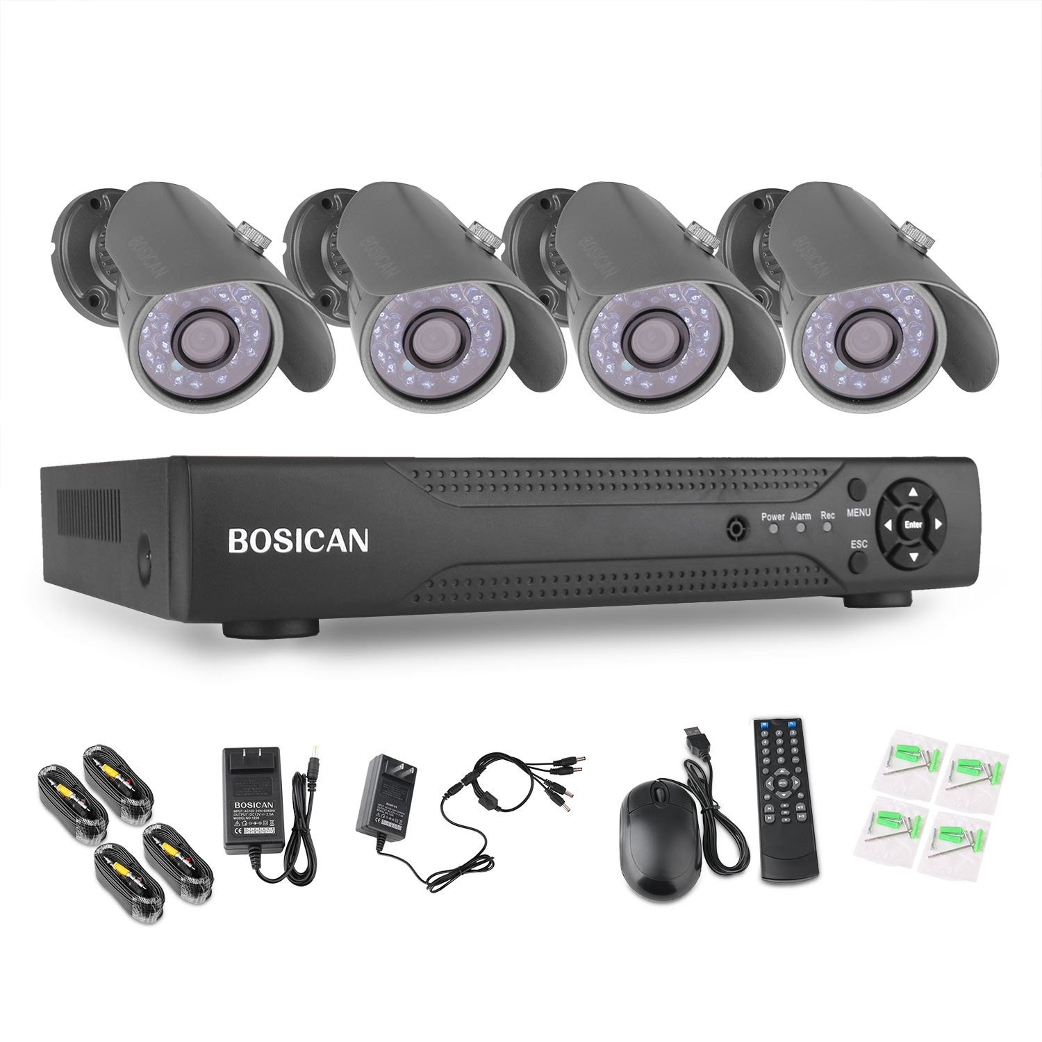 BOSICAN 8CH Surveillance DVR Kits with 4 Bullet Surveillance Cameras HD Security System 4 Indoor/Outdoor Waterproof 1000TVL Night Vision Security Cameras Support Smartphone View Remote Access