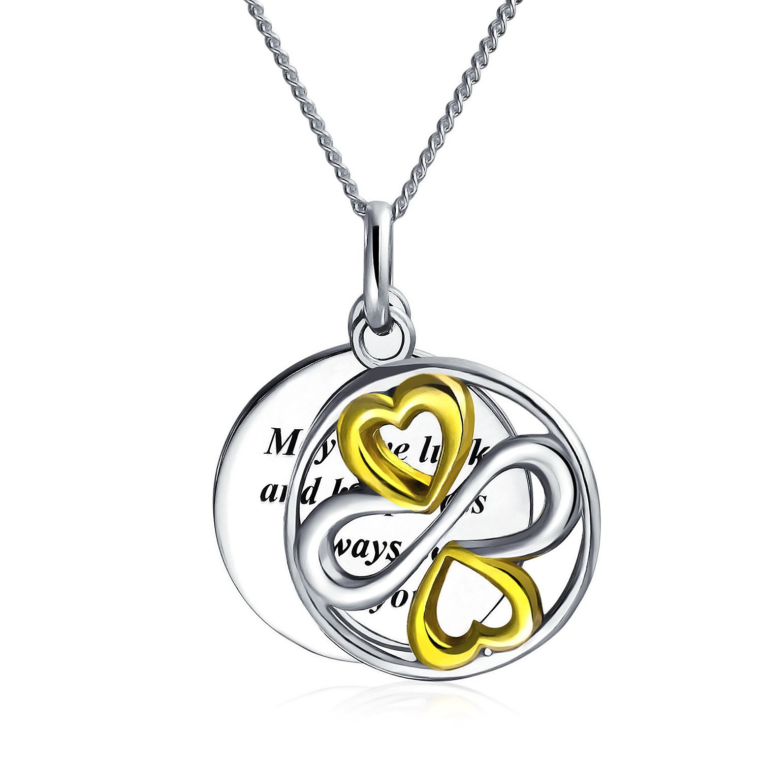 Personalized May Love Luck Happiness Be Always With You Inspirational Pendant Graduation Gift Sterling Custom Engraved