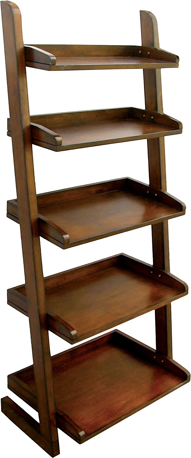 Furniture of America Portio Bookcase Storage Cabinet, Antique Oak