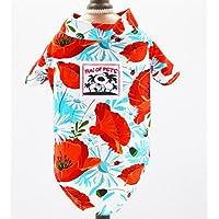 Tuersuer Sudadera con Estilo Cachorro Ropa para Mascotas Camisa con Estampado de Estilo Playero Ropa para Gatos - Rose Red Leaf L