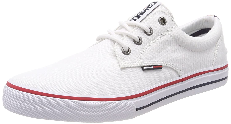697b28ea1 Hilfiger Denim Men's Tommy Jeans Textile Low-Top Sneakers, White (White  100), 7 UK (41 EU): Amazon.ae
