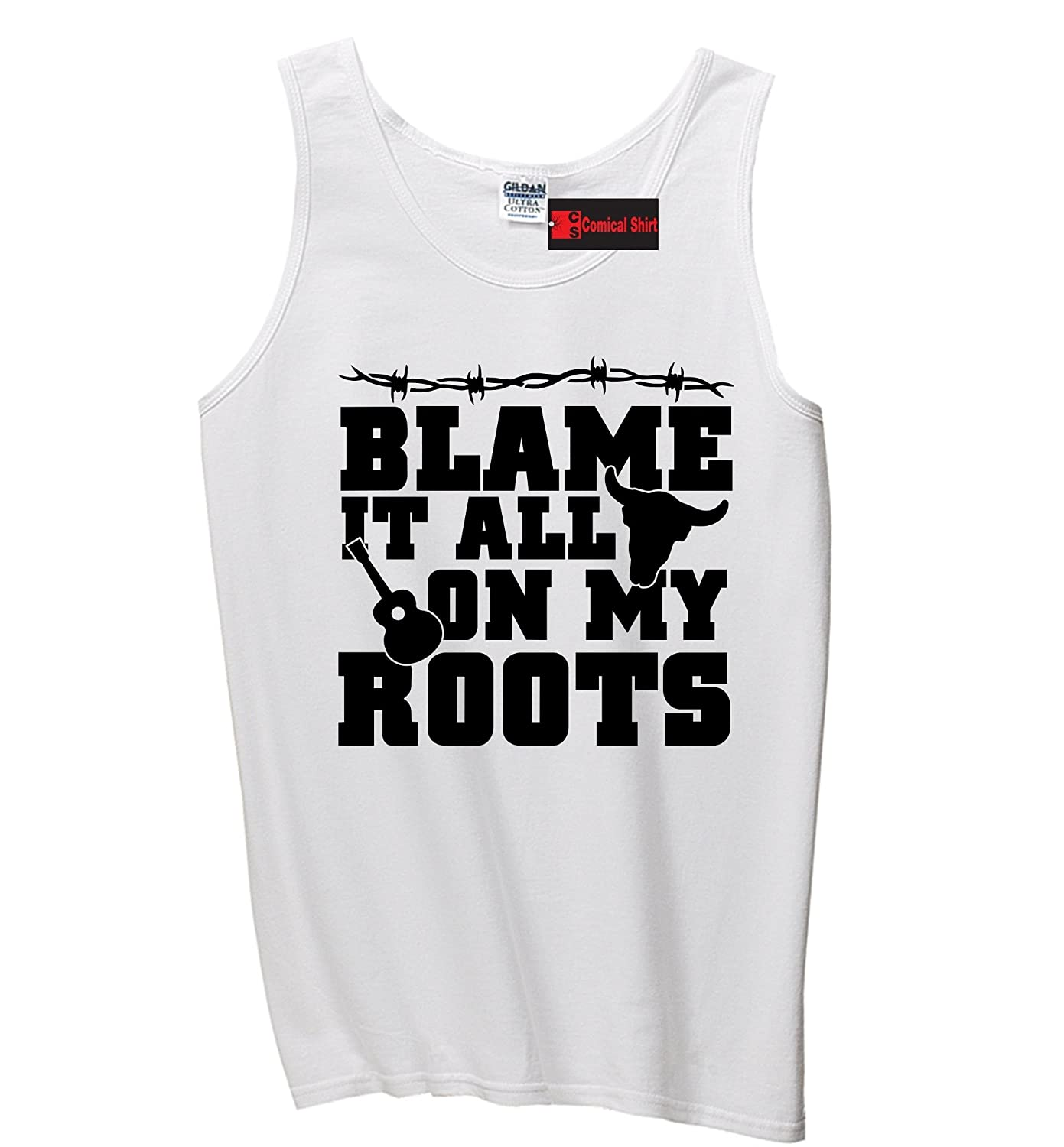 Nice Comical Shirt Men's Blame It All On My Roots Country Music Southern Tank Top for sale