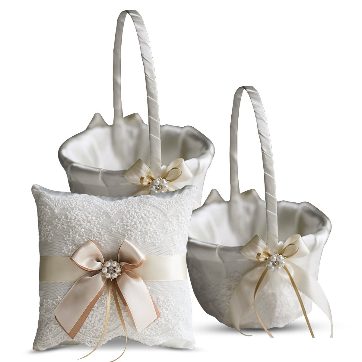 Alex Emotions Ivory Ring Bearer Pillow and Basket Set | Lace Collection | Flower Girl & Welcome Basket for Guest | Handmade Wedding Baskets & Pillows (Champagne) by Alex Emotions