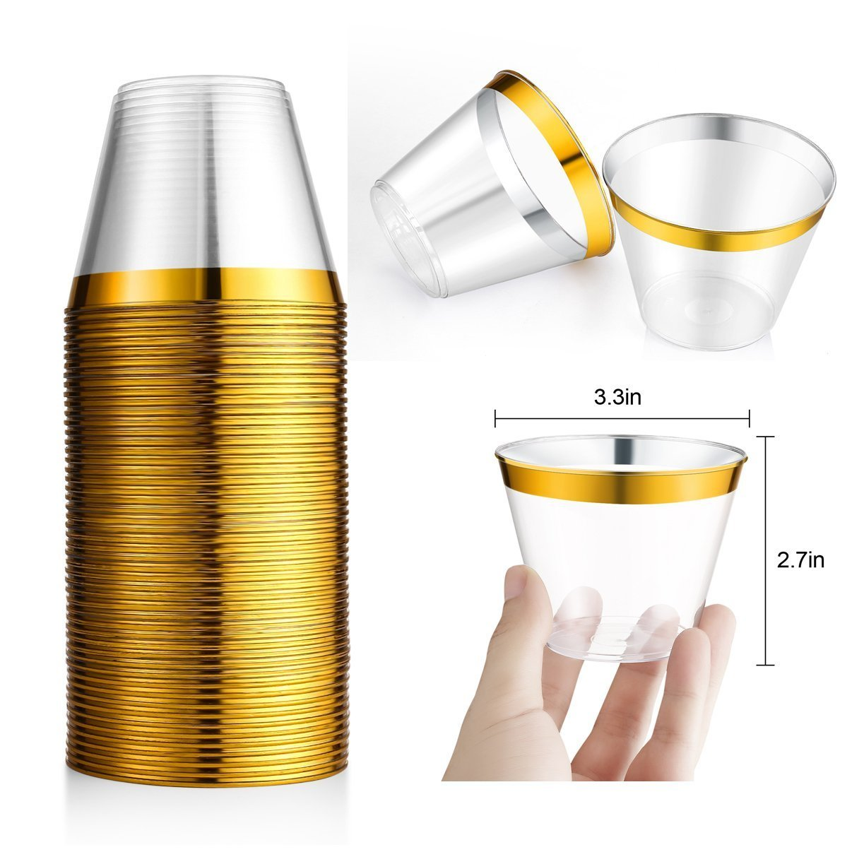 50Pcs Gold Plastic Cups ~ 9 Oz Clear Plastic Cups Old Fashioned Tumblers ~ Gold Rimmed Cups Fancy Disposable Wedding Cups ~ Elegant Party Cups with Gold Rim Kangsanli by Kangsanli