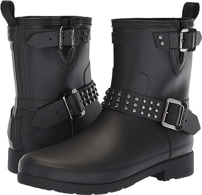 9cec9188c7c Amazon.com   Hunter Womens Refined Stud Biker Rain Boots   Ankle ...