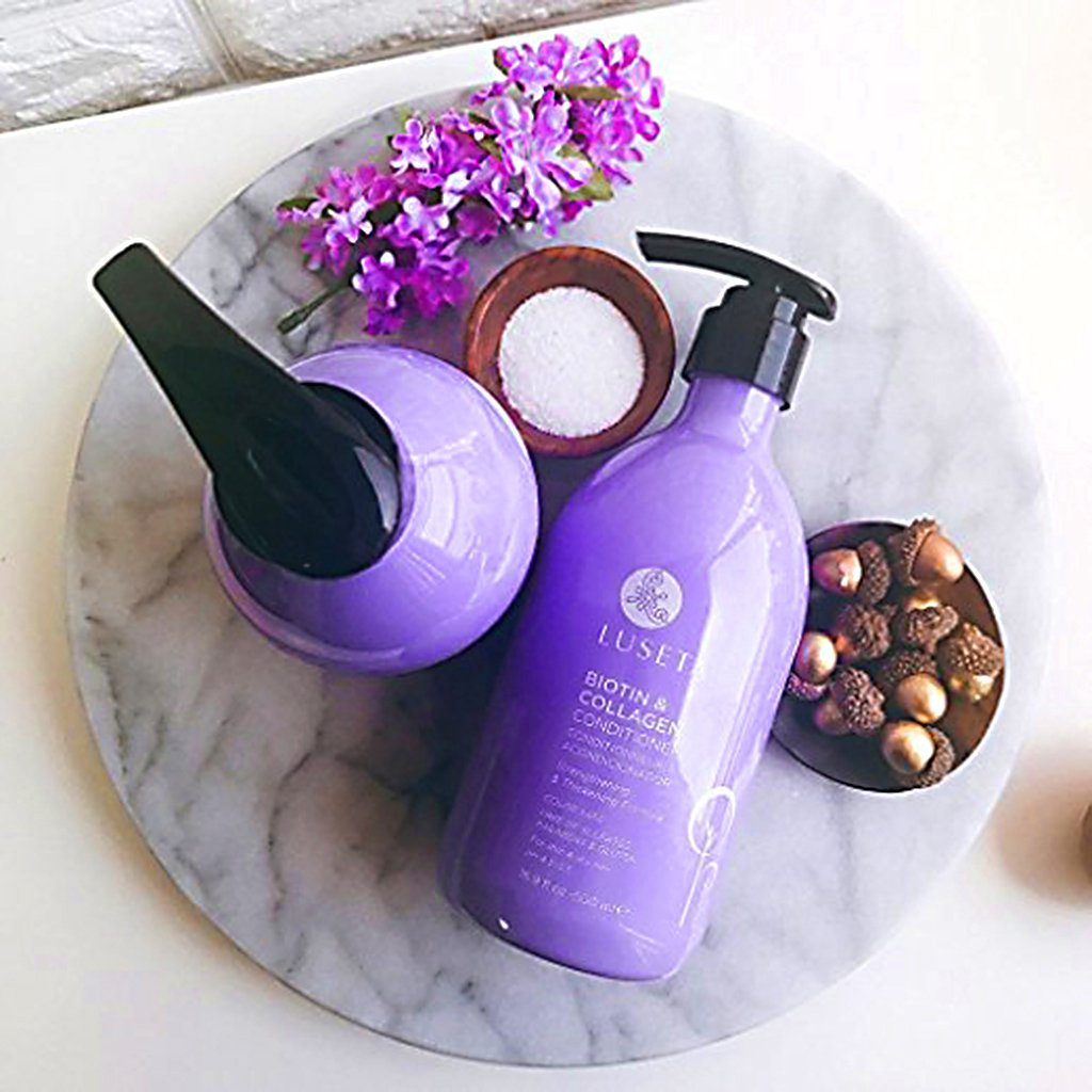 Luseta Biotin & Collagen Shampoo & Conditioner Set 2 x 16.9oz - Thickening for Hair Loss & Fast Hair Growth - Infused with Argan Oil to Repair Damaged Dry Hair - Sulfate Free Paraben Free by L LUSETA