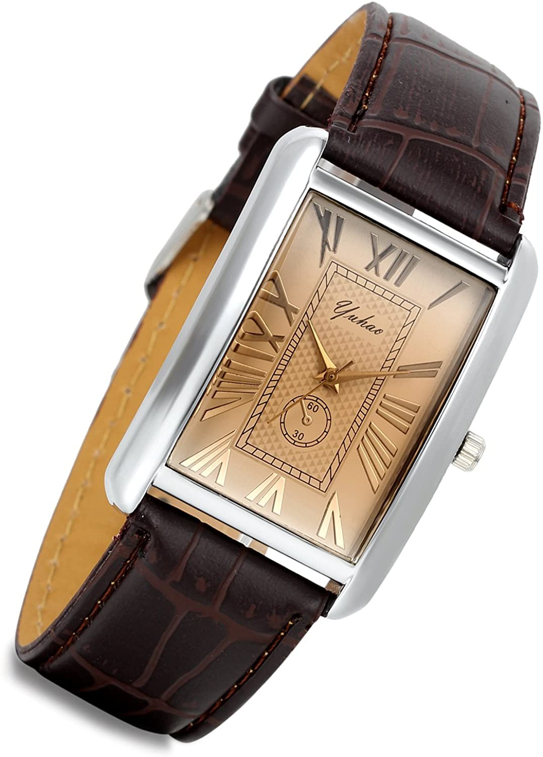 Lancardo Retro Vintage Silver Tone Case Crocodile Pattern Brown Leather Square Watch
