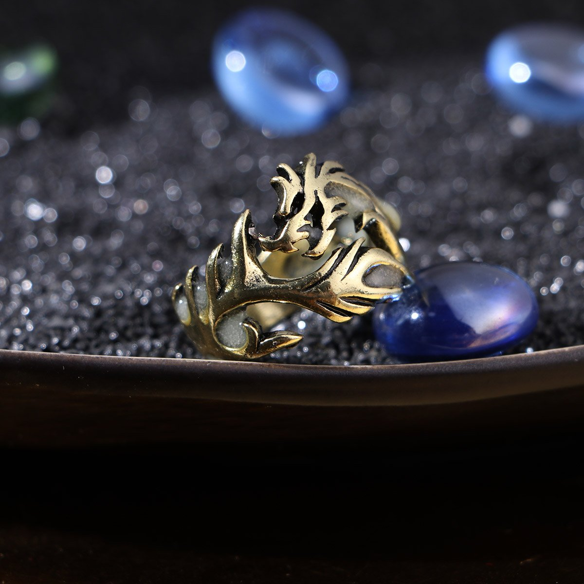 Light Green Tend Ycoco Ring Punk Hollow Herrschs/üchtig Ends Adjustable Dragon Pattern Ring for Men Halloween Party