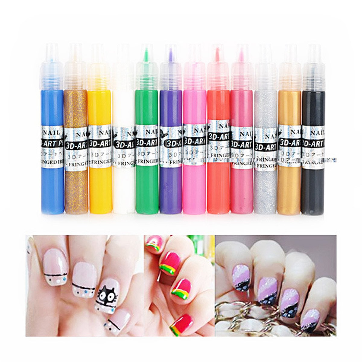 Amazon.com: Pixnor 12 Colors Nail Pens UV Gel Acrylic Tips 3D Nail ...