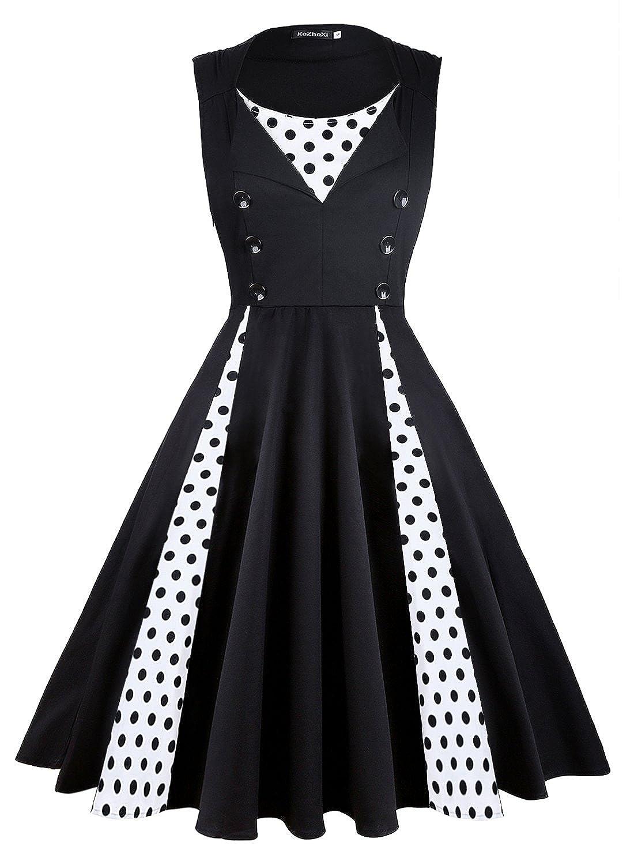 7b4805e8b0389 Style:Vintage,Retro,Polka dot dress,Fit and Flare,Audrey Hepburn style,Elegant;  Skirt type: large pendulum type; Dress Length: Knee-Length lace bird swing  ...