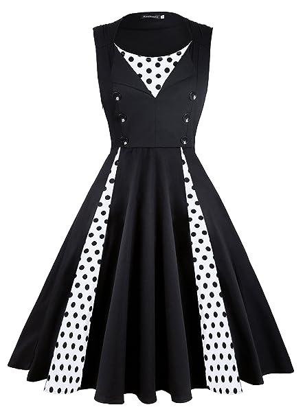 KeZheXi Women s Polka Dot Retro Sleeveless Vintage 1950s Rockabilly Evening  Party Cocktail Swing Dress (Black 27ca3f4df81