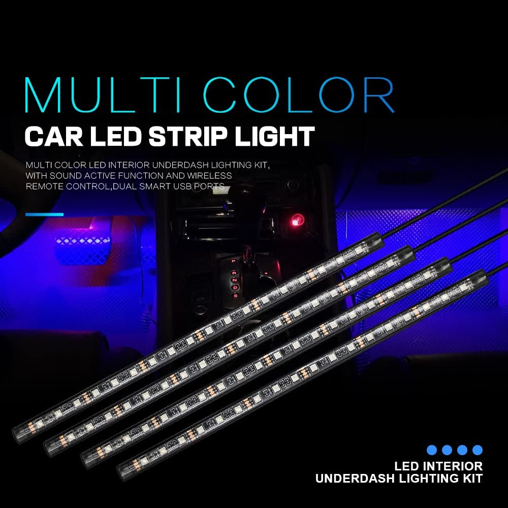WEISIJI Car LED Strip Light,72Leds DC 12V 4Pcs LED Underdash Lighting Kits Car Interior Music Light with Sound Active Function and Wireless Remote Control,Car Charger Included