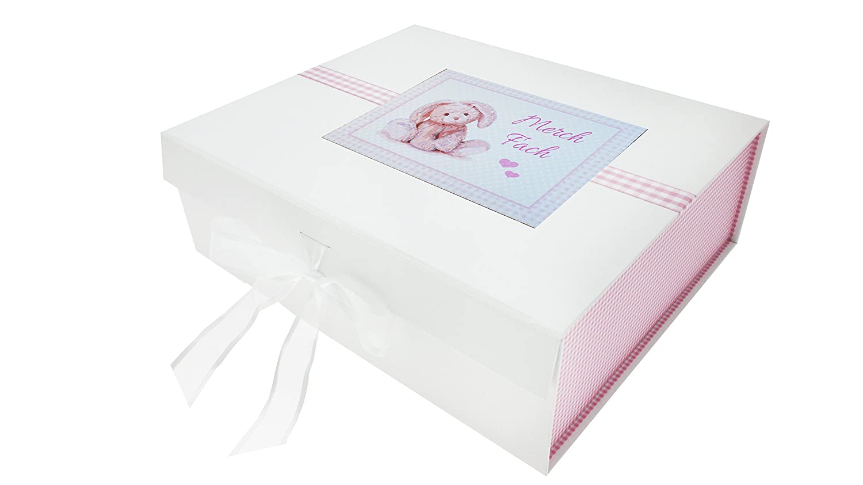 Gran Caja de Recuerdos 27,2/x 32/x 11/cm White Cotton Cards gal/és beb/é Frambuesa fach Color Blanco Color Rosa Conejo Junta