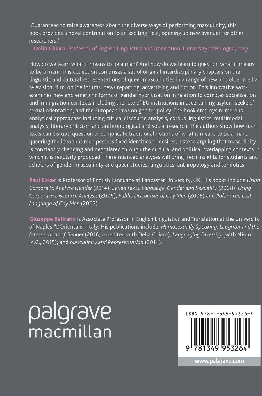 Queering Masculinities in Language and Culture (Palgrave Studies in Language, Gender and Sexuality) by Palgrave Macmillan