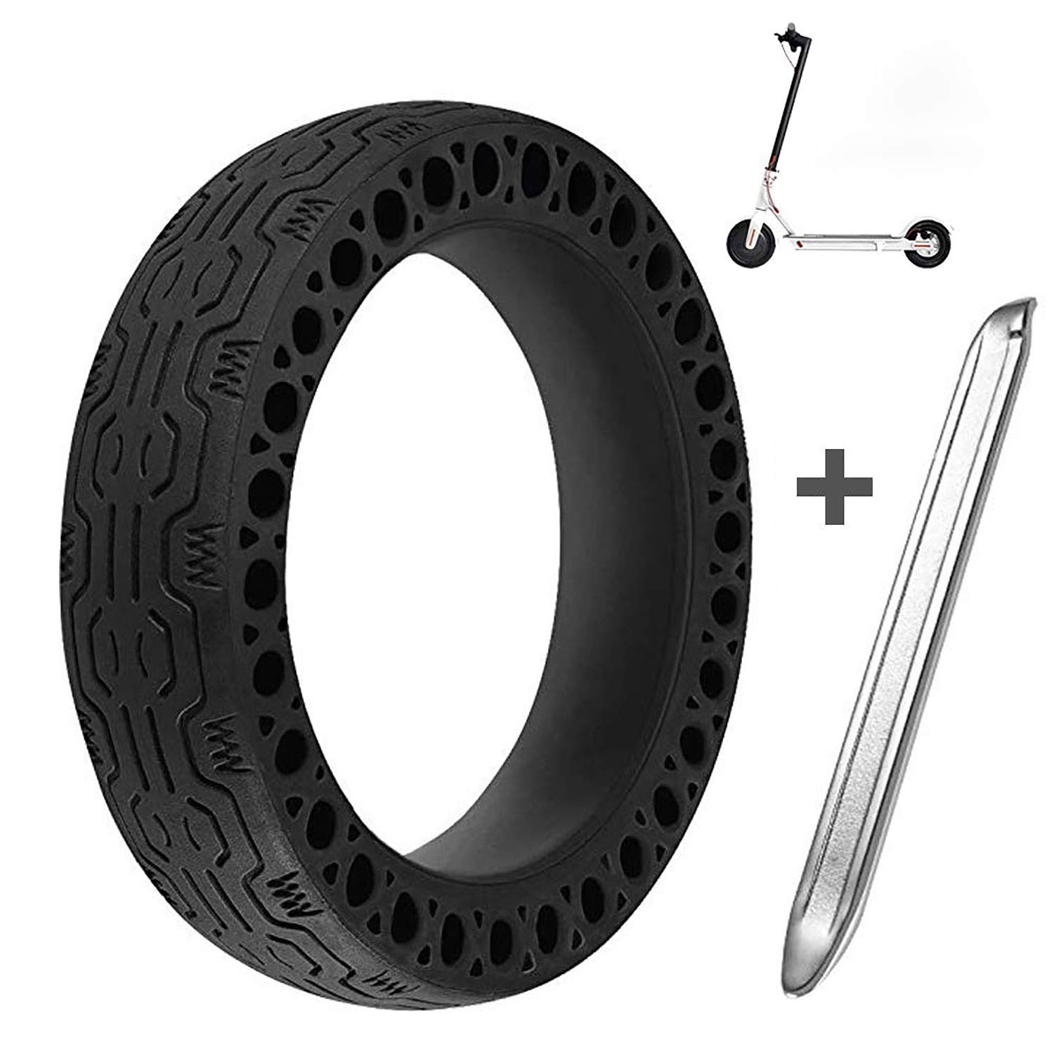 Suremita Honeycomb Rubber Solid Tire Replacement for Electric Scooter Xiaomi m365, 8.5 inch Scooter Wheel's Replacement Explosion-Proof Solid Tire + 1 Stainless Steel Tire Levers by Suremita