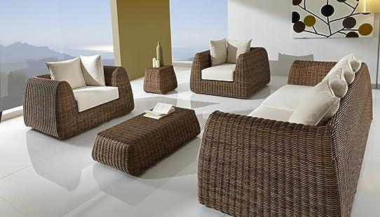 Salon de jardin en Poly rotin haute qualité REHAU avec coussins ...