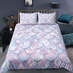Feelyou Girls Duvet Cover Set Twin for Kids Children Mermaid Fish Scales Bedding Set Colorful Fish Scale Decorative Comforter Cover Lightweight Microfiber Quilt Cover with 1 Pillowcase, Zipper