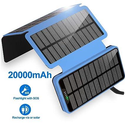 Amazon.com: Cargador Solar 20000mAh Portátil Solar Power ...