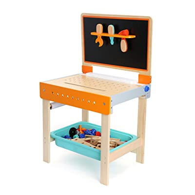 Small Foot Wooden Toys 2 in 1 Childrens Workbench with Drawing Table Playset Complete with All Tools & Accessories Designed for Children 3+: Toys & Games