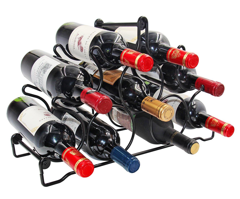 PAG 9 Bottles Free Standing Countertop Metal Wine Rack Tabletop Wine Storage Holders Stands, Black